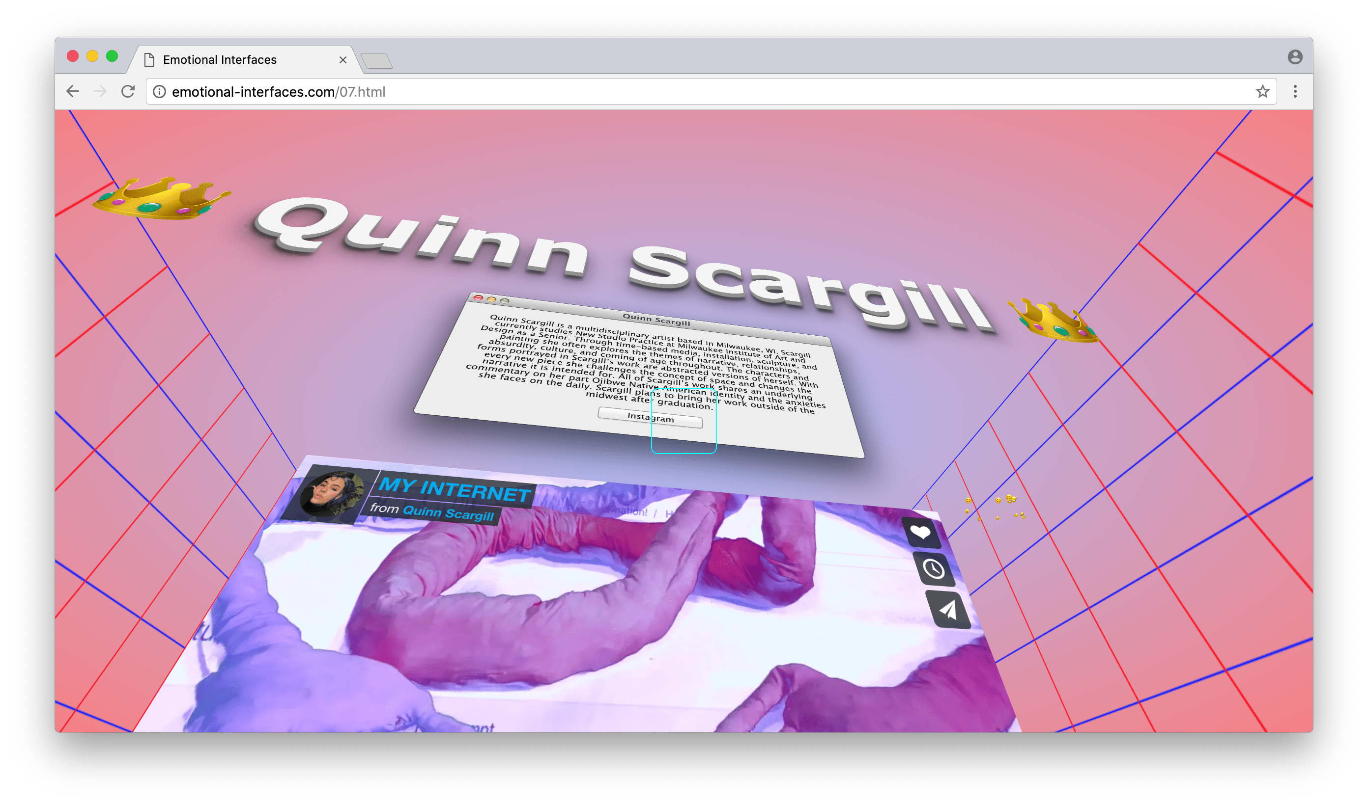 Quinn Scargill at Emotional Interfaces' online exhibition