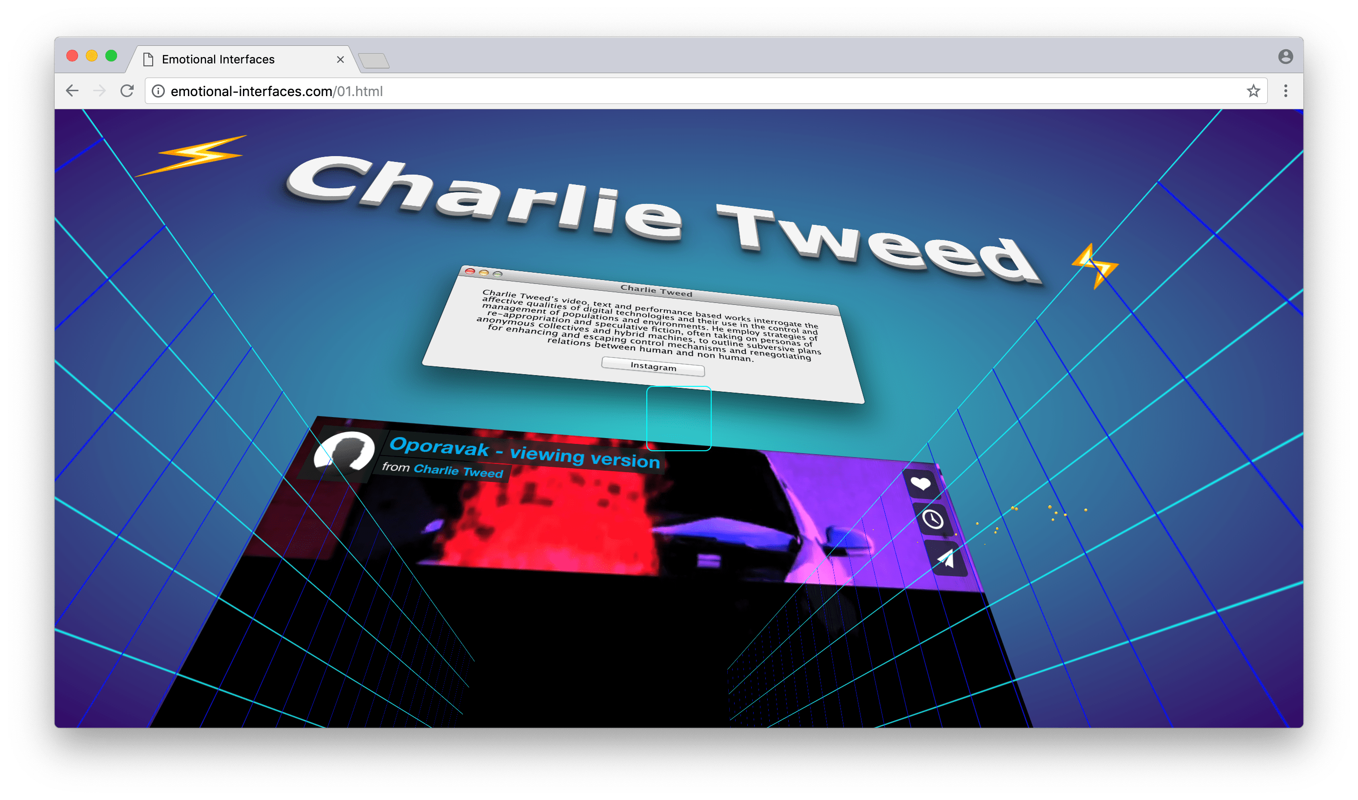 Charlie Tweed at Emotional Interfaces' online exhibition